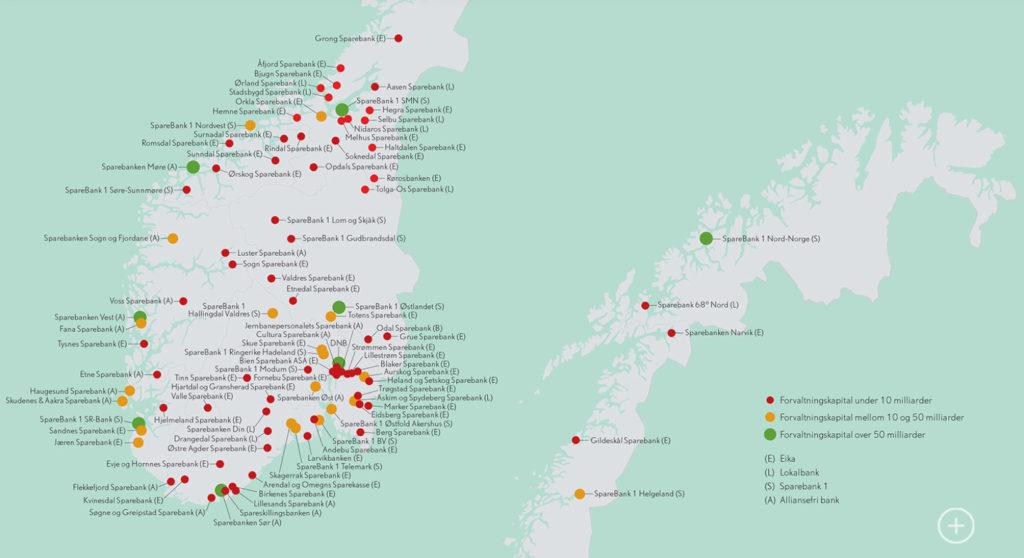 kart over norske sparebanker